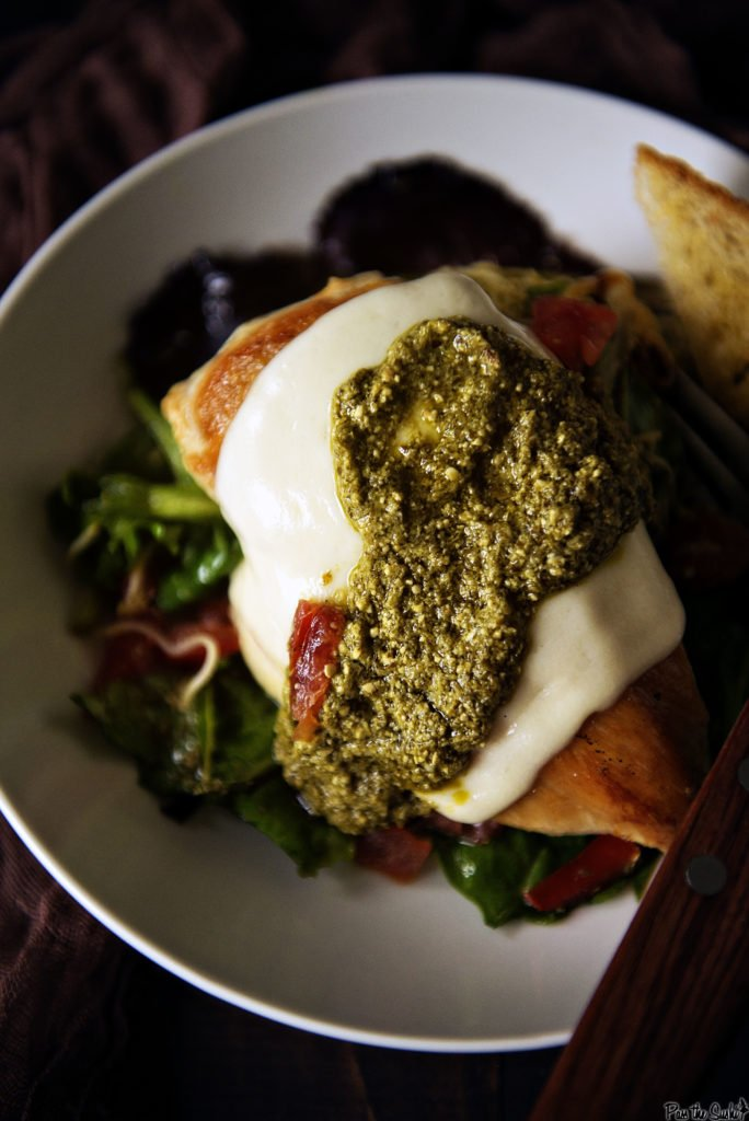 Skillet Mozzarella Chicken with Pesto | Kita Roberts GirlCarnivore.com