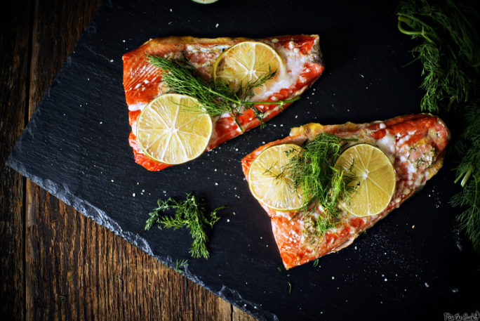 Smoked Salmon layered with paper thin lemon slices on a black slate. This is what I'm talking about!