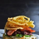 White BBQ Bacon Burger with Crispy Onion Strings