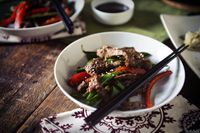 Strips of lean Steak, green beans and peppers make this Stir Fry clean, filling and delicious.
