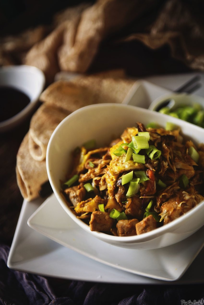 Moo Shu Pork in a white bowl. Don't let it get lonely.