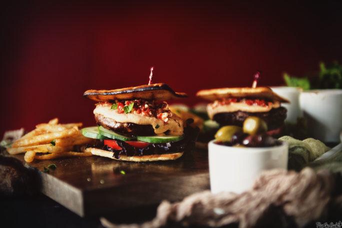Roasted Red Pepper Hummus Lamb Burger   Kita Roberts GirlCarnivore.com