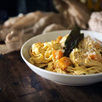 Creamy Pumpkin Alfredo with Roasted Butternut Squash and Turkey