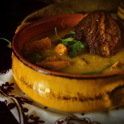 Chicken Soup with Roasted Butternut Squash & Curry