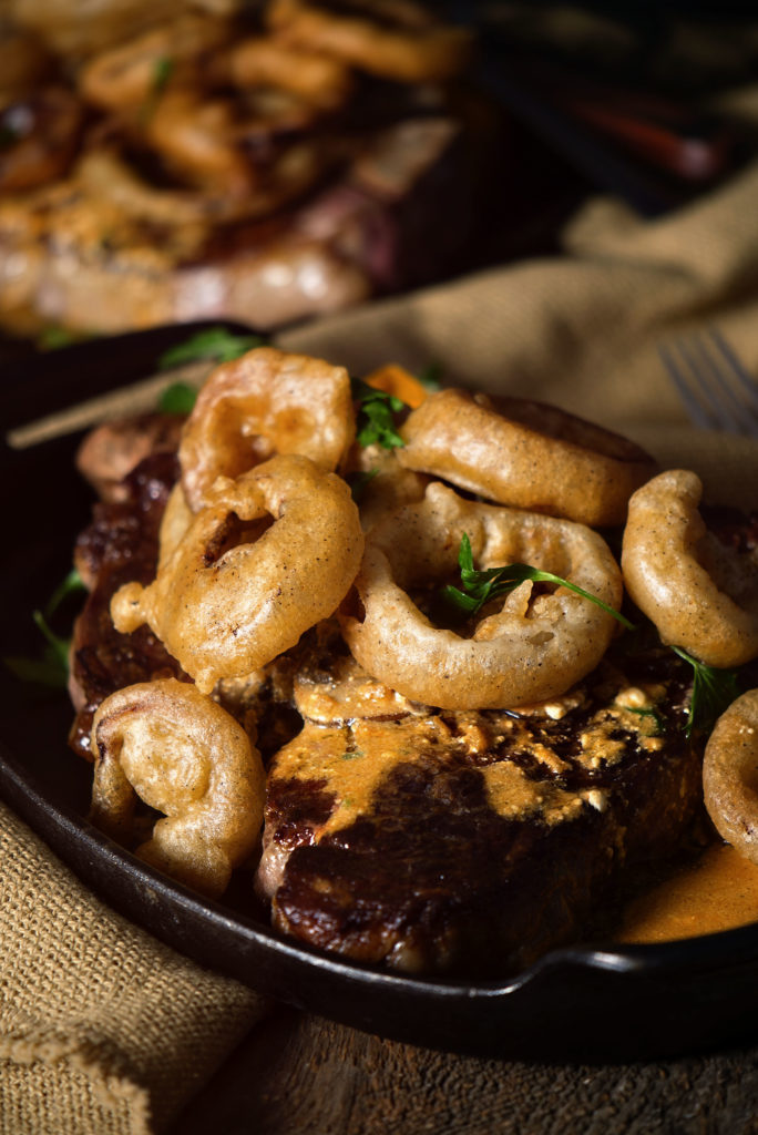 Perfect Pan Seared Porterhouse with Stroganoff Sauce and Fried Onions | Kita Roberts GirlCarnivore.com