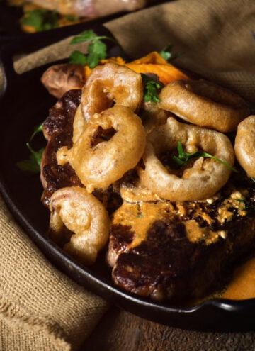 Perfect Pan Seared Porterhouse with Stroganoff Sauce and Fried Onions | Kita Roberts GirlCarnivore.com