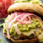 Recipe Runner GREEN CHILE TURKEY BURGERS WITH GUACAMOLE AND PICKLED RED ONIONS