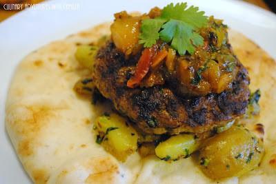 Culinary Adventures with Camilla Kheema aloo burgers with fresh mango
