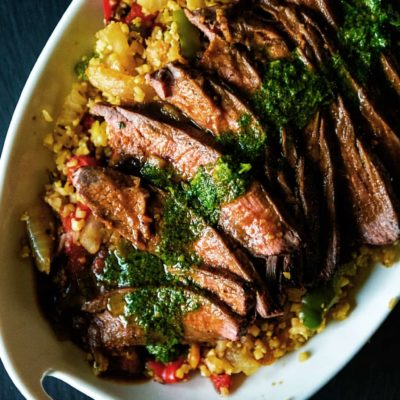 Grilled Flank Steak with fresh Chimichurri over Saffron Cauliflower Rice