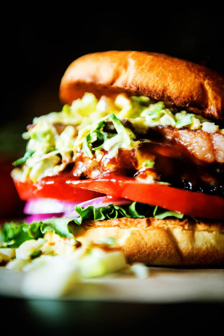 Bison Burger with Maple Brussels Sprouts Slaw for #BurgerMonth on GirlCarnivore