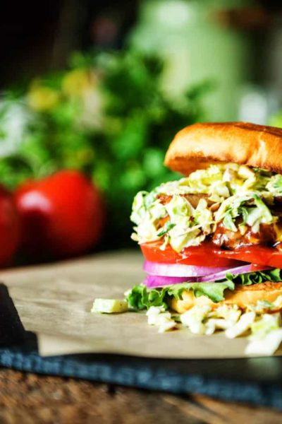 Bison Burger with Maple Brussels Sprouts Slaw