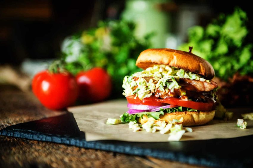 Bison Burger with Maple Brussels Sprouts Slaw, don't you just want to dig in?