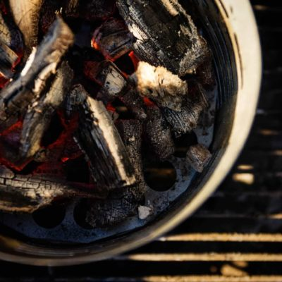 Charcoals prepared for grilling using Char-Broil Half-Time Chimney Starter