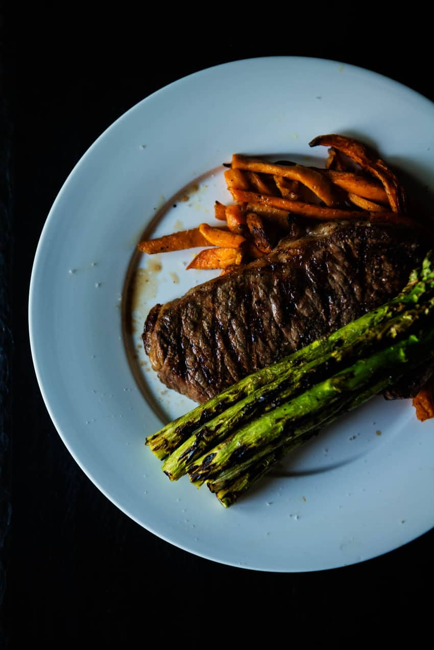 Grilled Steak, Asparagus and sweet potato fries grilled on a Char-Broil grill