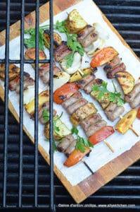 Zaatar sausage skewers