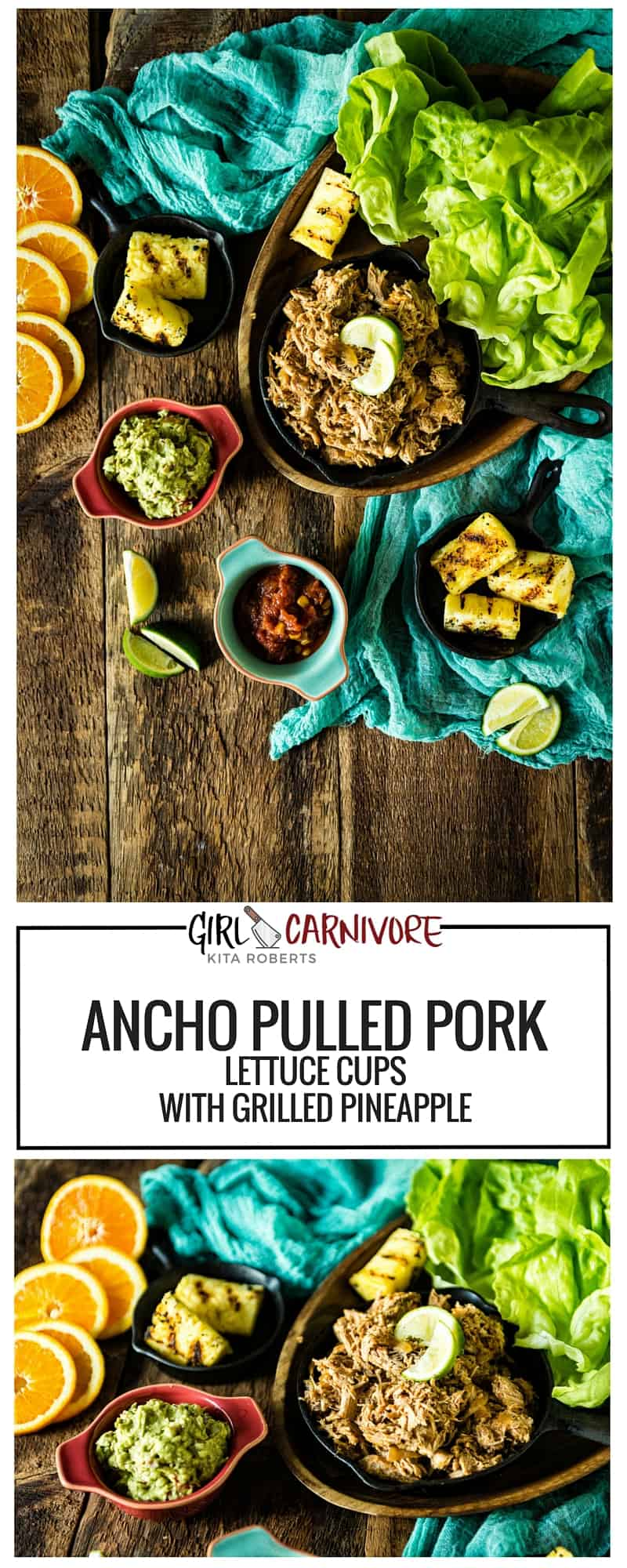 Slow Cooker Spicy Ancho Pulled Pork Lettuce Cups with Grilled Pineapple | GirlCarnivore.com