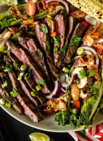 Grilled Coffee Crusted Flank Steak Salad | Kita Roberts GirlCarnivore.com