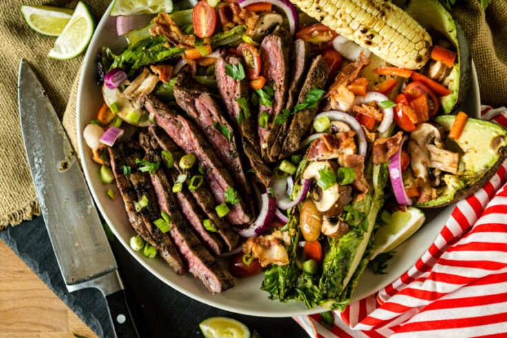 Grilled Coffee Crusted Flank Steak Salad