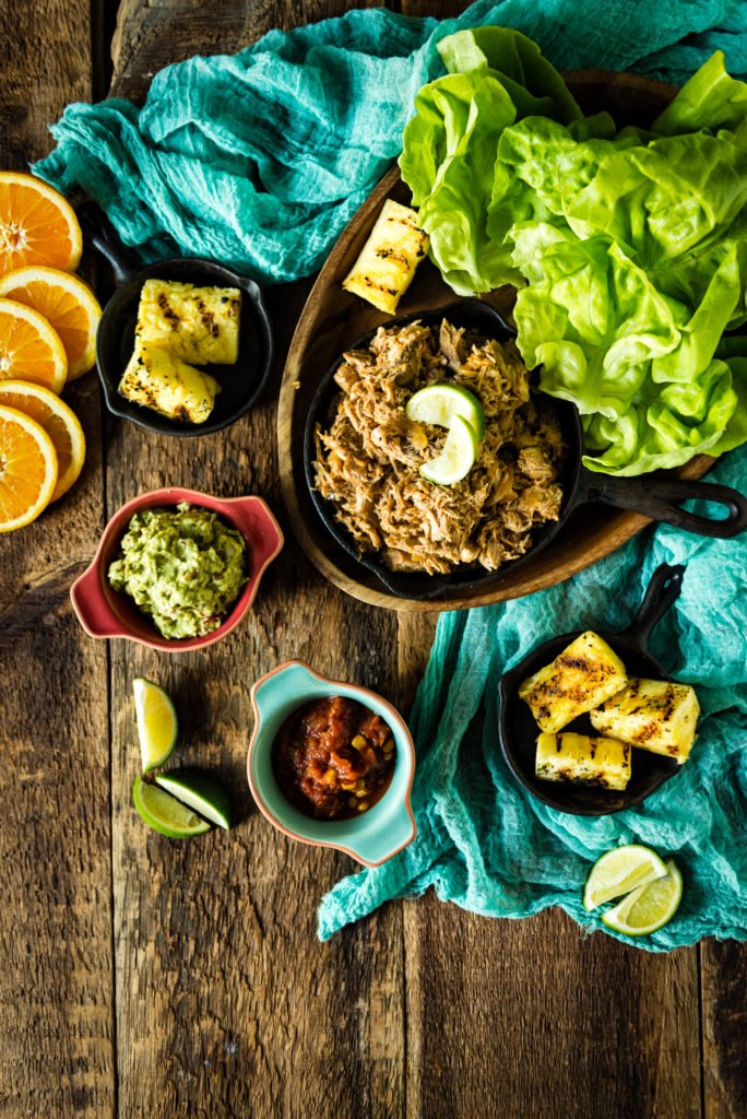 Whole 30 Ancho Pulled Pork Lettuce Cups with Grilled Pineapple | Kita Roberts GirlCarnivore.com