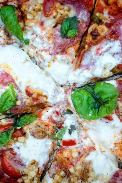 Grilled Summer Pizza with Salami, Sweet Corn and Burrata | Kita Roberts GirlCarnivore.com