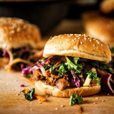 Slow Cooker Hoisin Sliders with Sriracha Kale Slaw