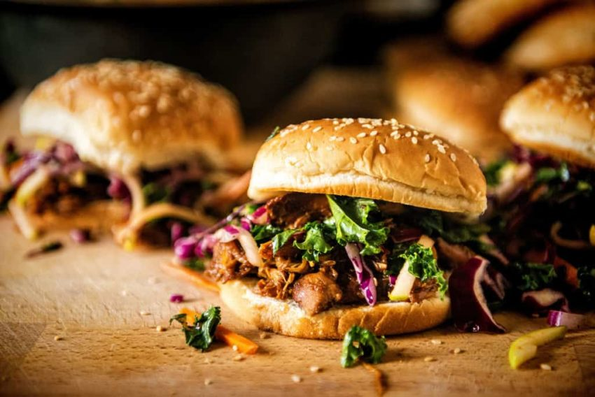 Slow Cooker Hoisin Sliders with Sriracha Kale Slaw