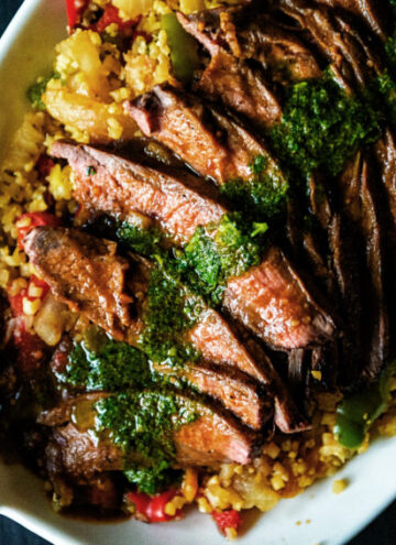 Grilled Flank Steak with fresh Chimichurri over Saffron Cauliflower Rice | Kita Roberts GirlCarnivore.com