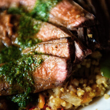 Grilled Flank Steak with fresh Chimichurri over Saffron Cauliflower Rice | Kita Roberts GirlCarnivore.com
