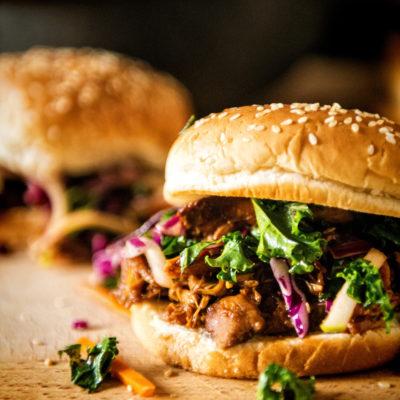 Slow Cooker Hoisin Sliders with Sriracha Kale Slaw | Kita Roberts GirlCarnivore.com