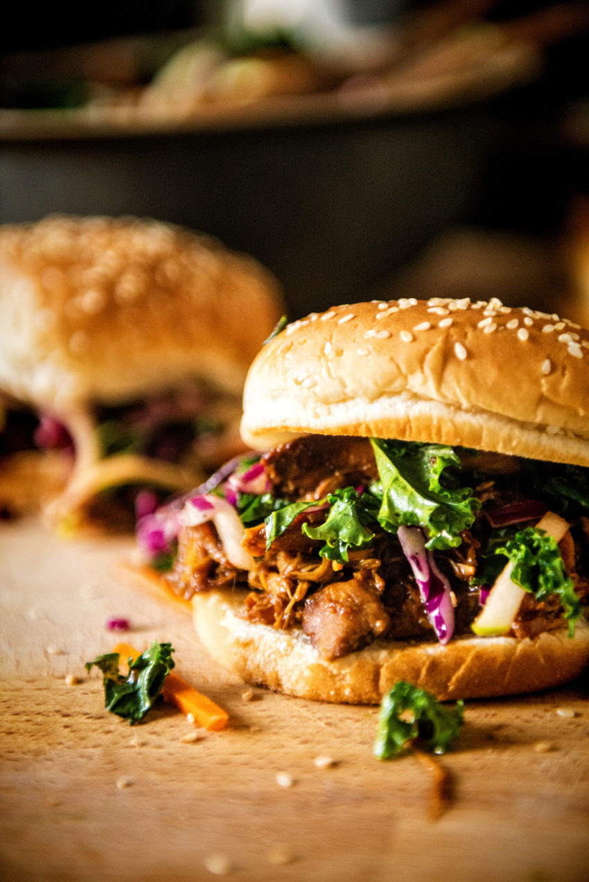 Slow Cooker Hoisin Sliders with Sriracha Kale Slaw | Kita Roberts GirlCarnivore.com