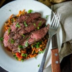 Whole 30 Grilled Flat Iron Steak Over Marinara Tossed Sweet Potato Noodles | Kita Roberts GirlCarnivore.com