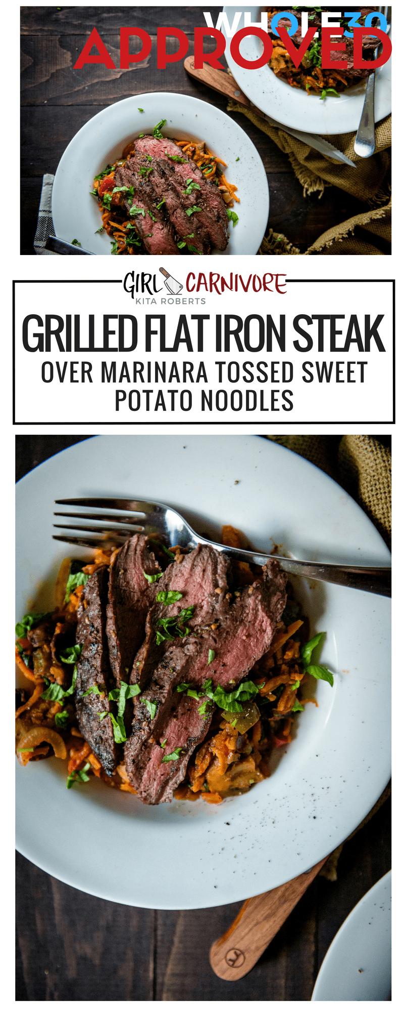 Whole 30 Grilled Flat Iron Steak Over Marinara Tossed Sweet Potato Noodles