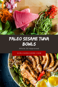 Crazy delicious whole 30 tuna steaks over a power bowl loaded with stir fry veggies and a spicy mayo