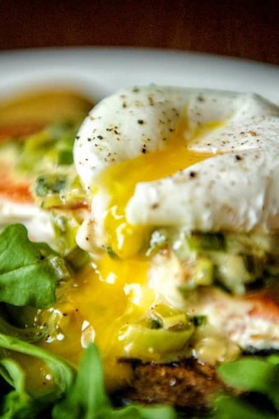Whole 30 Approved Pan Seared Salmon with Creamy Leeks and Poached Egg