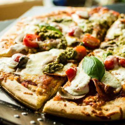 Grilled Bacon Pesto Pizza with fresh Burrata