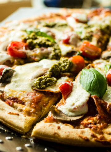 Grilled Bacon Pesto Pizza with fresh Burrata | Kita Roberts GirlCarnivore.com