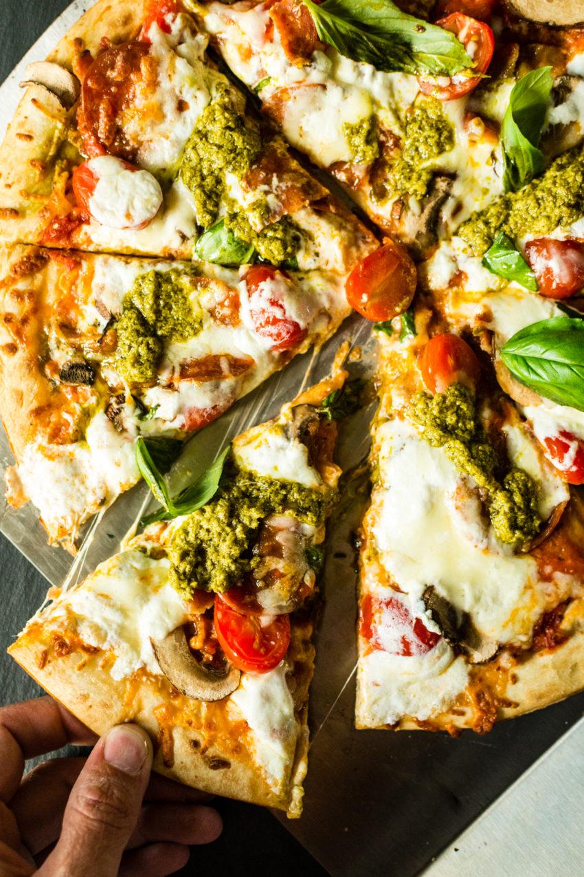Grilled Bacon Pesto Pizza with fresh Burrata | Kita Roberts GirlCarnivore.com