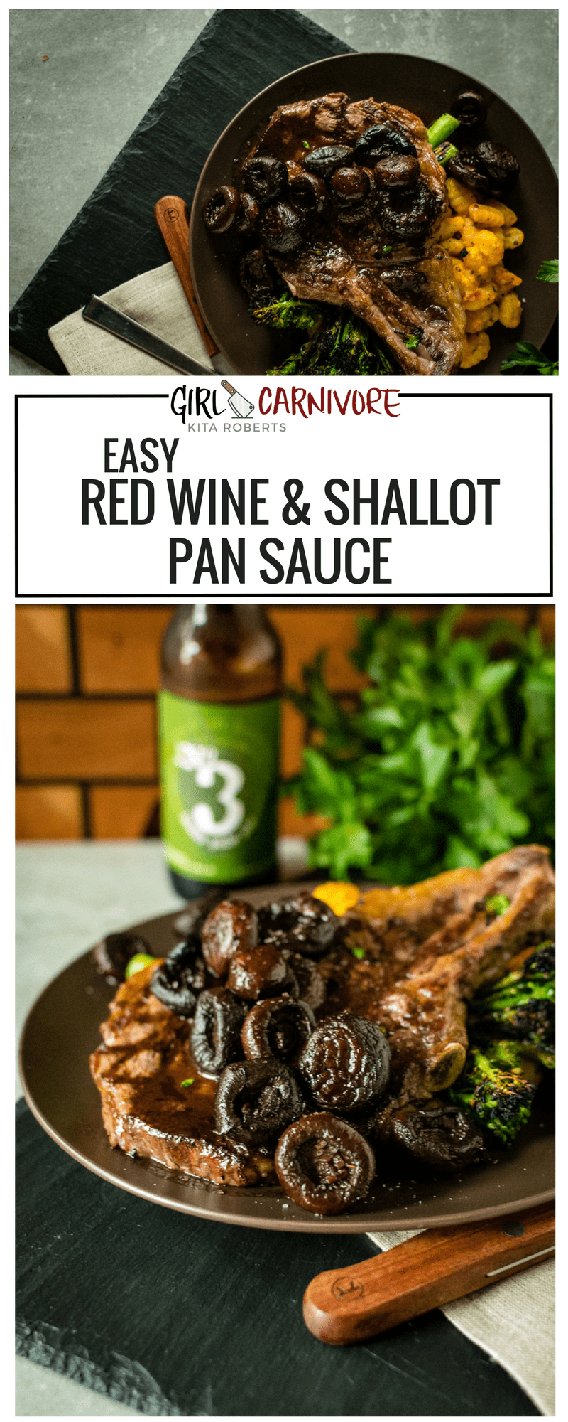 Easy Red Wine and Shallot Pan Sauce for Steaks | Recipe at GirlCarnivore.com