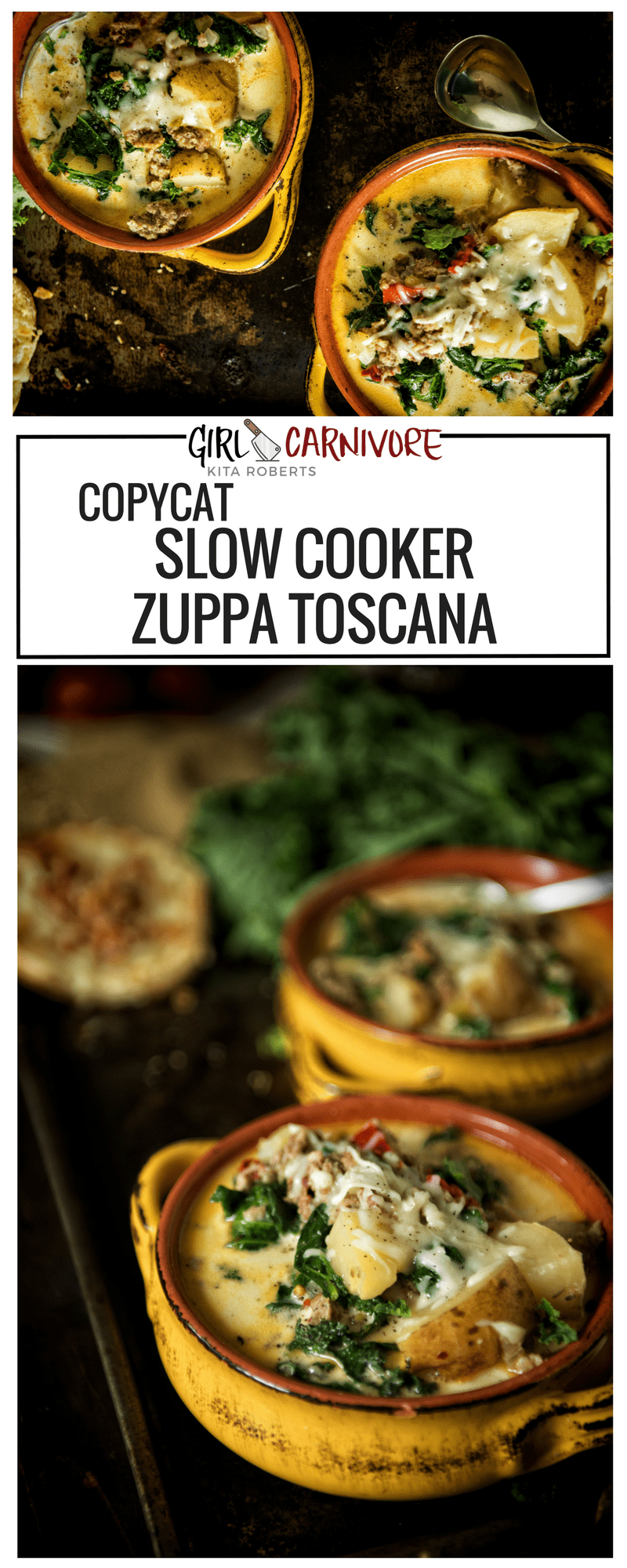 Copycat Slow Cooker Zuppa Toscana | Quick and easy family meal at GirlCarnivore.com