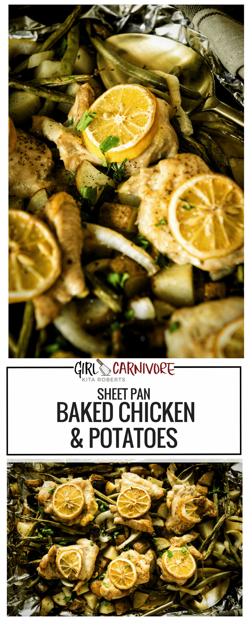 Super Easy Sheet Pan Baked Chicken and Potatoes | Recipe at GirlCarnivore.com