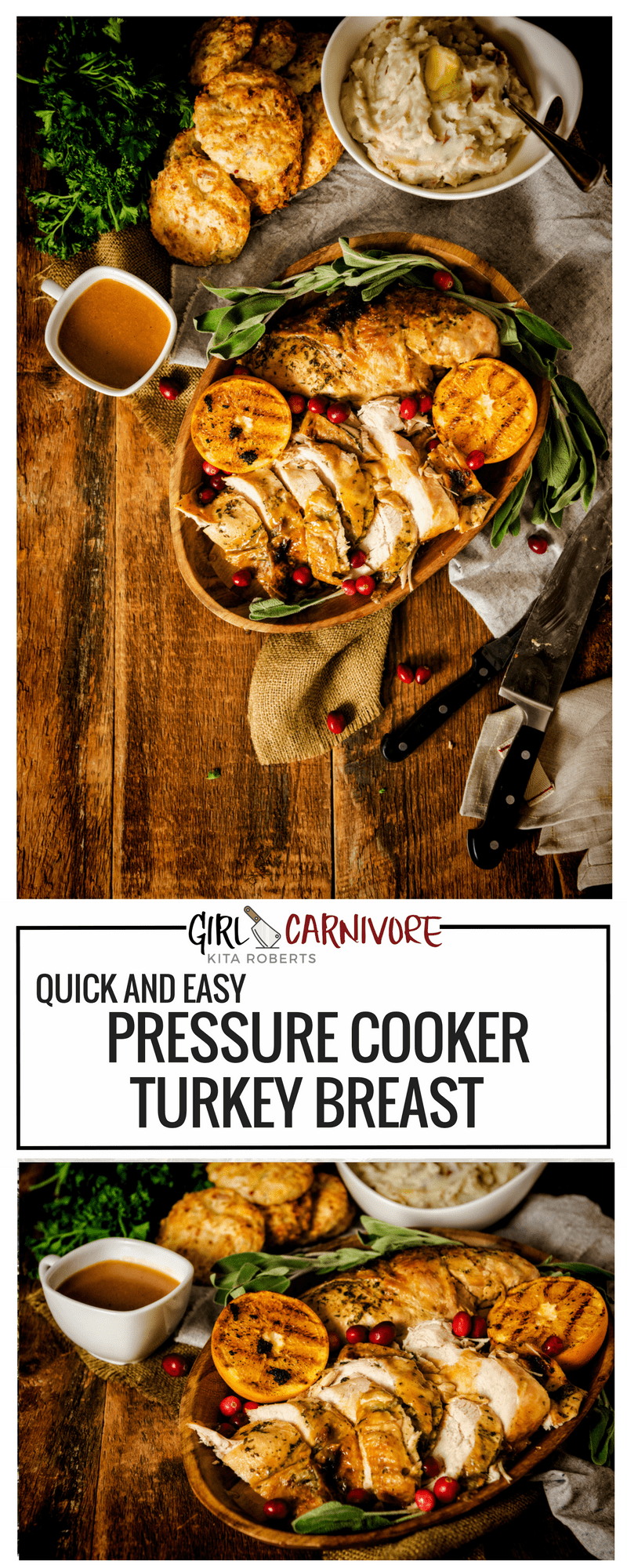 Quick and Easy Pressure Cooker Turkey Breast Recipe - perfect for smaller holiday get togethers. The whole recipe comes together in under 40 minutes. | Get the recipe at GirlCarnivore.com
