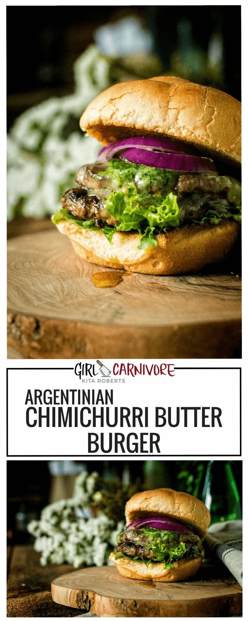 This Argentinian Chimichurri Butter Burger is simple and amazing.