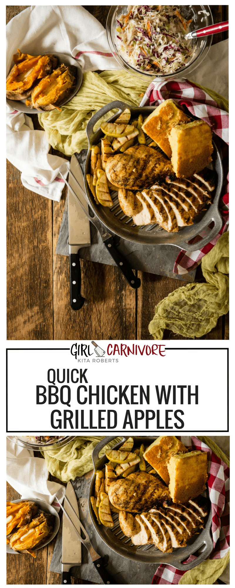 This is a weeknight quick meal that is perfect for anyone trying to eat healthy (it's Whole30 approved) and loaded with flavor! Quick BBQ Chicken with Grilled Apples.