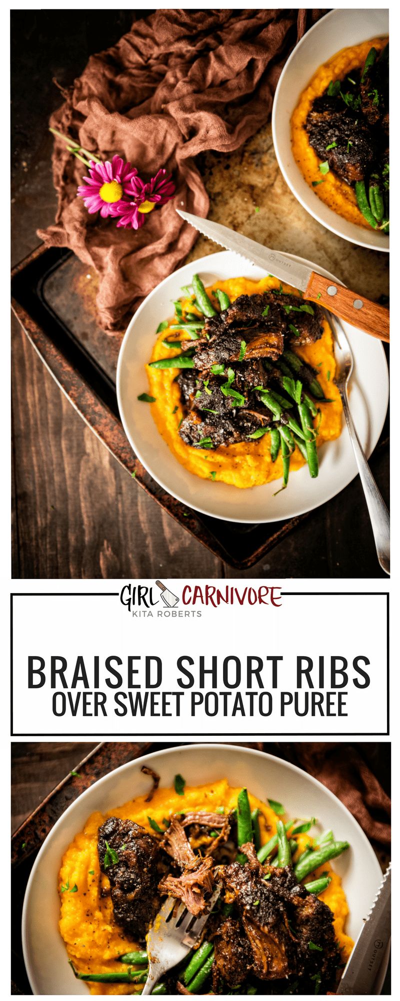 Braised Short Ribs over Sweet Potato Puree