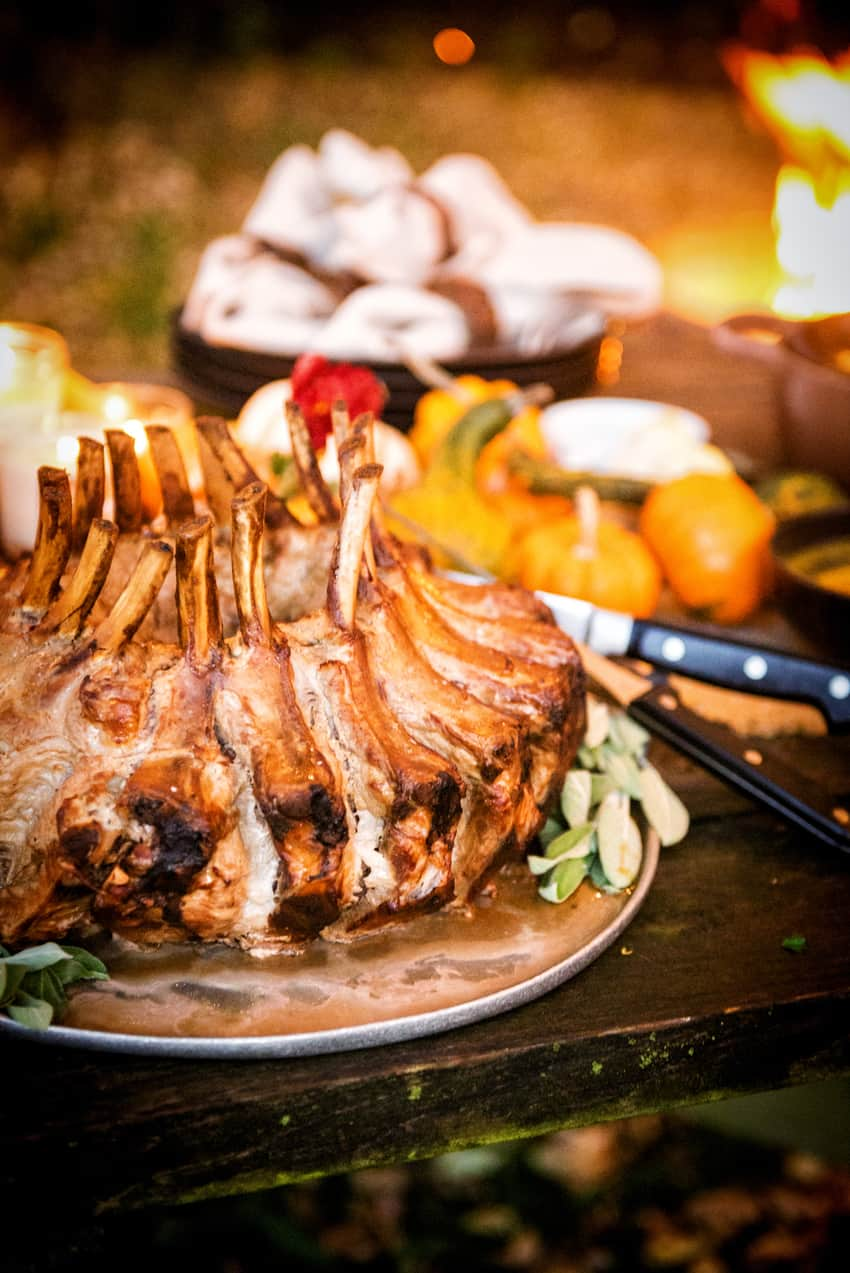 Smoked Pork Crown Roast with a Sage Pan Gravy | This is the perfect holiday feast!