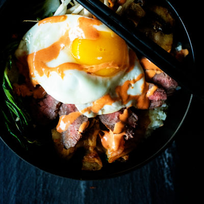 Whole30 Grilled Steak Bibimbap Bowls | Kita Roberts GirlCarnivore.com