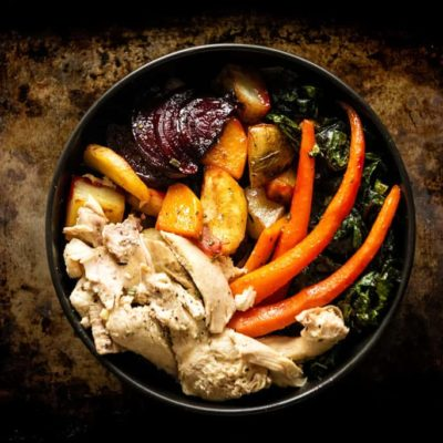 Roasted Roots and Chicken Power Bowl with Maple Dipping Aioli
