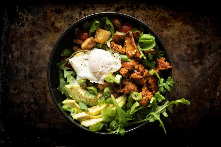 Chorizo Hash Breakfast Bowl with Chipotle Cream