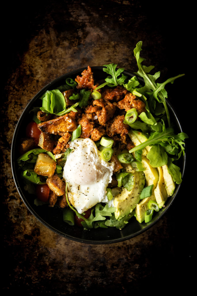 Chorizo Hash Breakfast Bowl with Chipotle Cream. There's ton's of green stuff in there to make it look healthy!