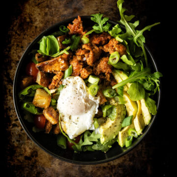Chorizo Hash Breakfast Bowl with Chipotle Cream | Kita Roberts GirlCarnivore.com